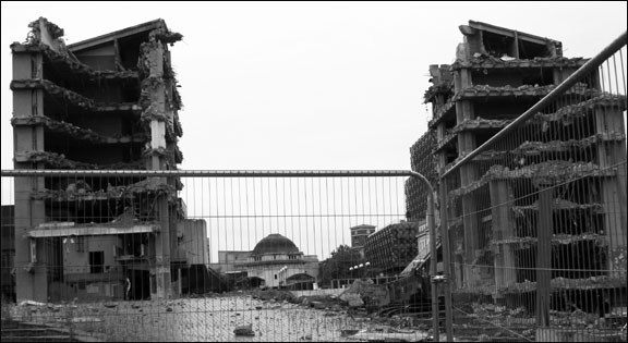 Black white photography demoliyion demolition of birmingham central library birmingham central library