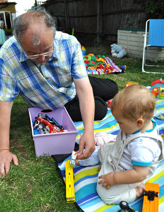 John Hemming MP plays with his son Tom